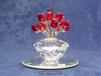 Vase of 15 Ruby Red Roses (No Mirror)